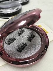 Magnetic eyelashes with rose gold circle case